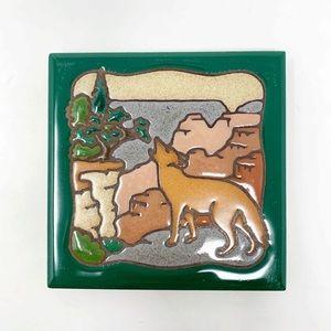 Vintage wolf rocky mountains coaster tile trivet